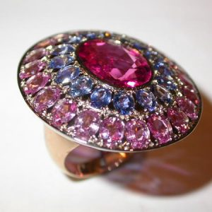 Bague « merveille », or rose, centre tourmaline rose