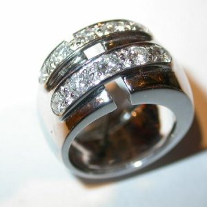 Bague or blanc, diamants, double lien