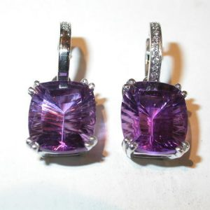 Boucles d'oreilles, or blanc, tanzanites, diamants