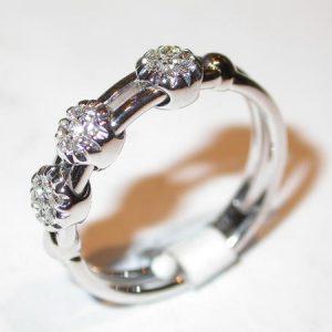 Alliance or blanc, motifs diamants mobiles