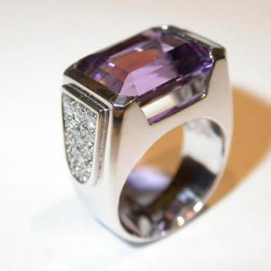Bague or, amethyste et diamants