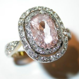 Bague or jaune et platine, diamant rose naturel