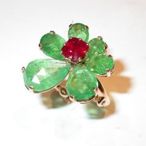 Bague or rouge, rubis, grenats tsavorites