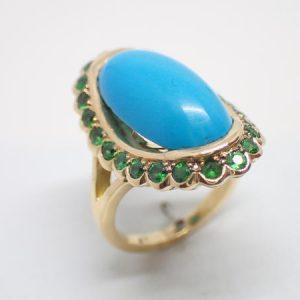 Bague or, turquoise, grenats tsavorites