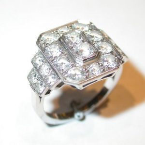 Bague rectangle, diamants, or blanc