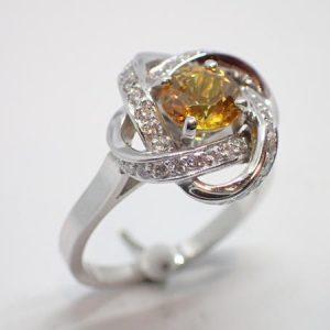 Bague saphir orange diamants