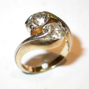 Bague «toi et moi» or jaune, platine, diamants
