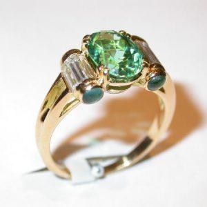 Bague tourmaline paraiba et baguettes diamants