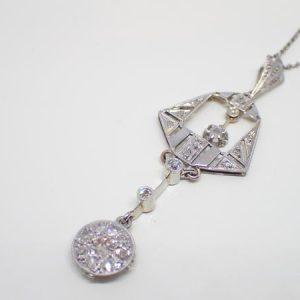 Pendentif Art deco or et diamants