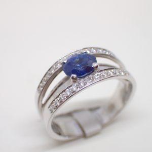 Bague double bandeau or saphir diamants