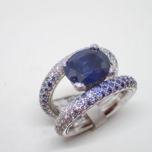 Bague anneaux tournants saphirs et diamants