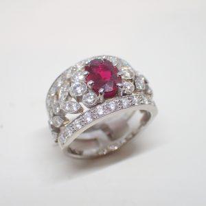 Bague platine rubis diamants style guirlande