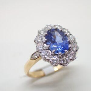 Bague pompadour saphir diamants