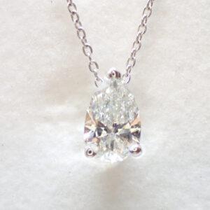 Pendentif diamant poire certifié F-Si (0,71 carat)
