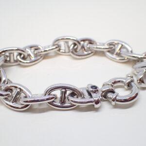 Bracelet or blanc maille marine