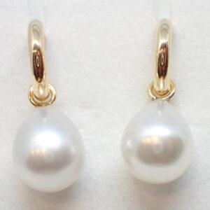 Pendants d'oreilles or jaune et perles poires