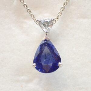 Pendentif poire saphir et diamant troidia