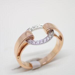 Bague lien or rose et anneau diamants