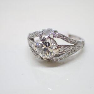 Bague platine et diamant Art Déco