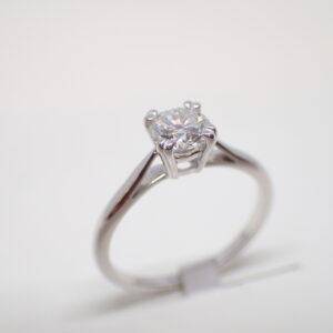 Solitaire or blanc diamant brillant