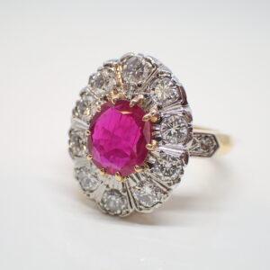 Bague pompadour rubis diamant
