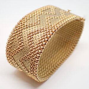 Bracelet manchette maille polonaise or jaune