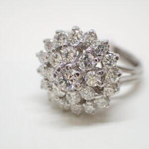 Bague marguerite double entourage diamants