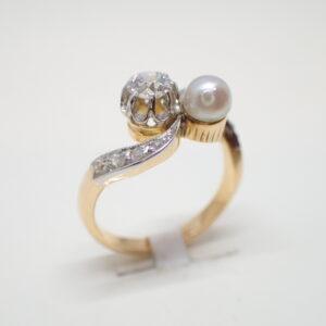 Bague toi et moi perle fine et diamant