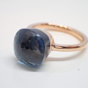 Bague or rose topaze « blue london »