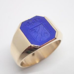 Chevaliere armoriée lapis lazuli