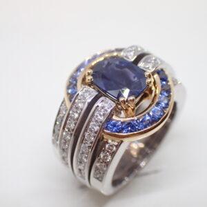 Bague saphirs bandeaux diamants