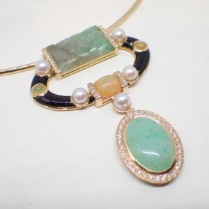 Pendentif or jaune, opale et jade