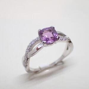 Bague torsade saphir et diamants