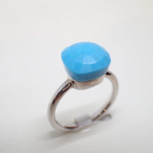 Bague turquoise et or blanc