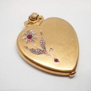 Pendentif coeur or jaune Belle epoque