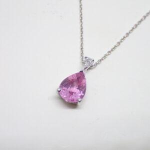Pendentif poire saphir rose et diamant