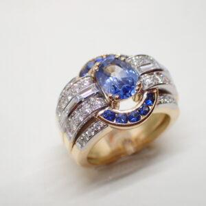 Exceptionnelle bague saphirs et diamants