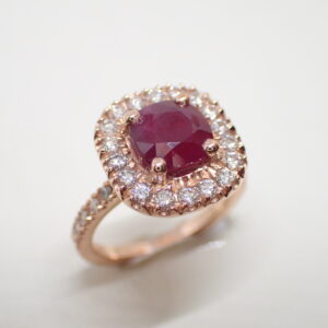 Bague coussin rubis diamants or rose