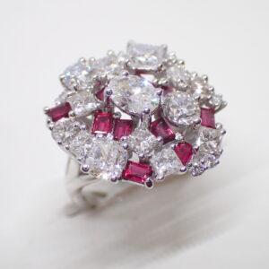 Bague «bouquet» diamants et rubis