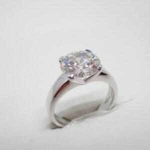 Solitaire or blanc diamant brillant 3 carats