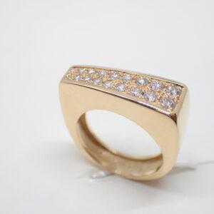 Bague asymetrique or jaune et diamants