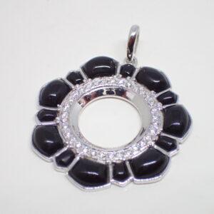 Pendentif Art Déco onyx et diamants