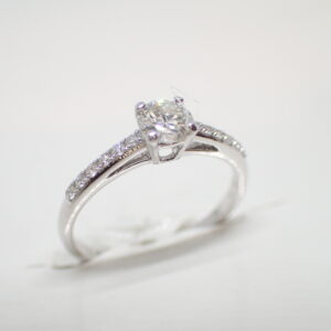 Solitaire or blanc diamants