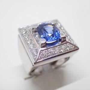 Bague carrée saphir et diamants