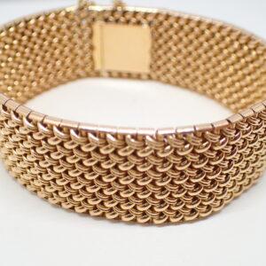 Bracelet manchette or jaune maille «polonaise»