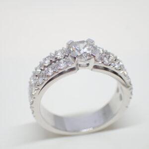 Bague double bandeau diamants