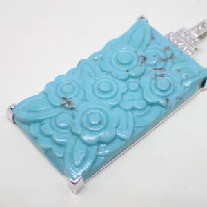 Pendentif Art Déco verre turquoise et diamants